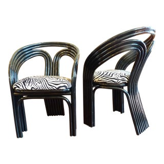 High Gloss Zebra Print Club Chairs - Pair