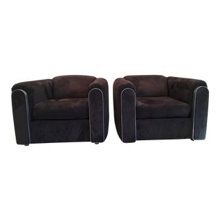 Knoll Ultra Suede Modern Lounge Chairs - A Pair