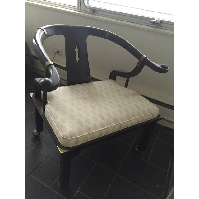 SOLD!Vintage Baker Asian Horseshoe Armchairs - Image 4 of 8