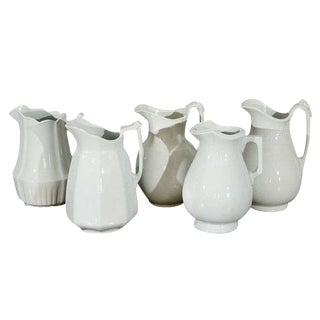 19th Century English White Ironstone Pitchers - Individual