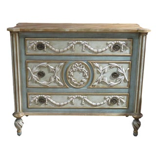 French Style Cream & Turquoise Carved Commode