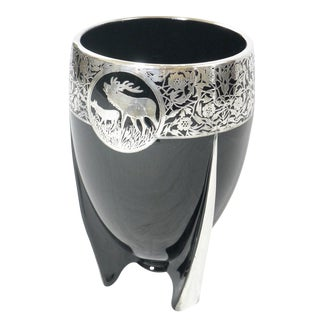 Black Amethyst Glass Stag Vase
