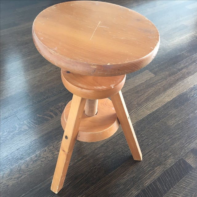 Wooden 3-Legged Side Table - Image 4 of 5