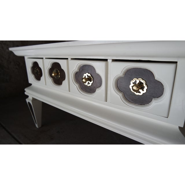 White Vintage Regency Coffee Table with Drawers - Image 4 of 10