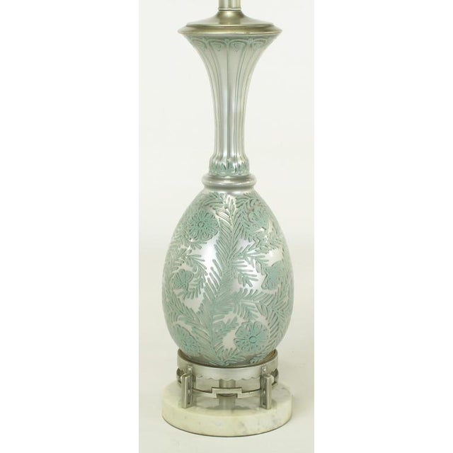 Image of Pair Reverse Silvered & Hand Painted Glass Table Lamps