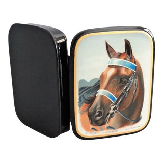 Signed Lacquered Painted Equestrian Russian Box