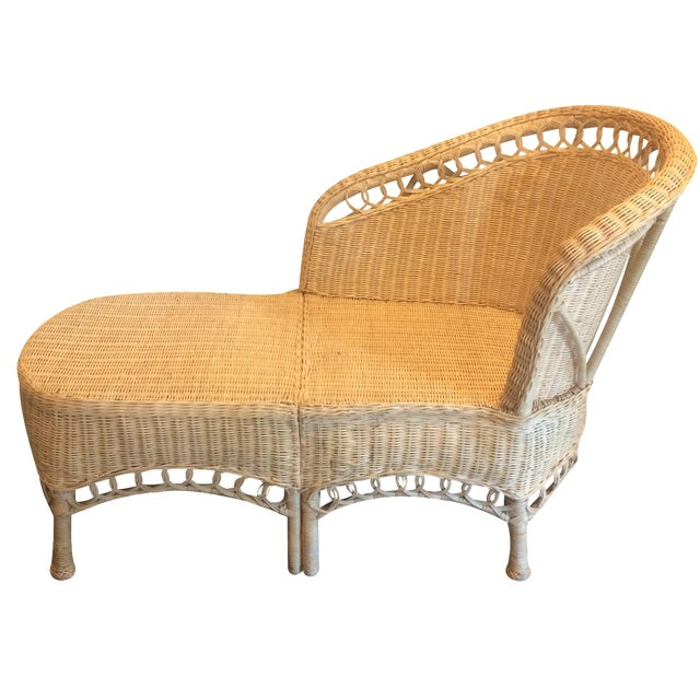 Vintage wicker chaise lounge chairish for Antique wicker chaise