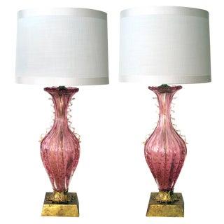 A Striking Pair of Murano 1950's Pink Art Glass Aventurine Lamps