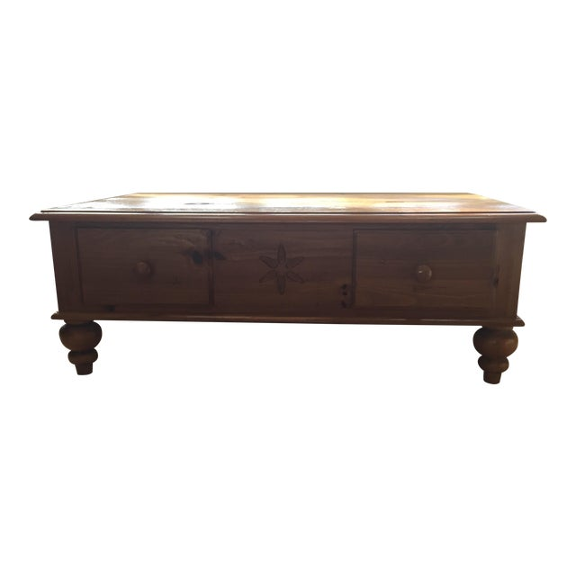 Ethan Allen Coffee Table With Drawers: Ethan Allen Farmhouse Pine Coffee Table