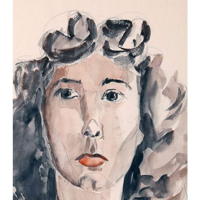 """Eve Nethercott """"Portrait of a Woman"""" Watercolor - Image 2 of 2"""