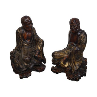 Vintage Hand Carved Wood Buddha Statues - Pair