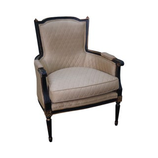 Century Black & Gold French Louis XVI Style Bergere Chair