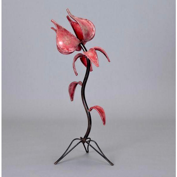 Image of Iron & Red Leather Tulip Table Lamp
