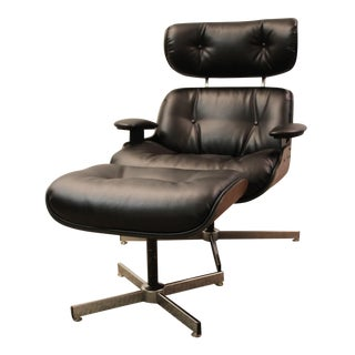 Mid-Century Eames Style Selig Lounge Chair/Ottoman