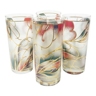 Vintage Abstract Pastel Culver Tumblers - Set of 4