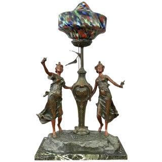 L & F Moreau Style Art Nouveau French Figural Table Lamp