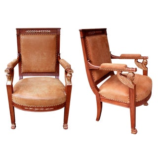 A Good Pair of French Empire Armchairs with Sphinx-Head Motifs