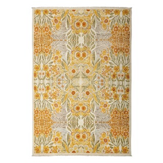Yellow Floral Hand-Knotted Rug - 6′ × 8′10″