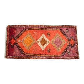 Vintage Turkish Orange Tone Wool Carpet - 3' 8'' X 1' 8''
