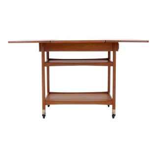 Danish Modern Drop Leaf Teak Serving Cart