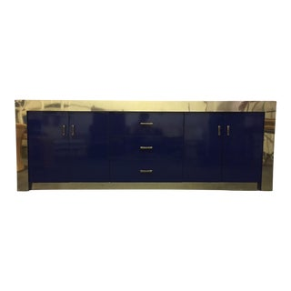 Vintage Blue and Brass Credenza