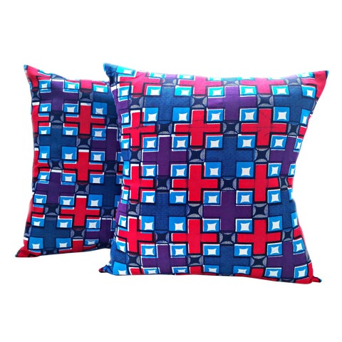 Image of Purple African Print Fabric Pillow Covers - A Pair