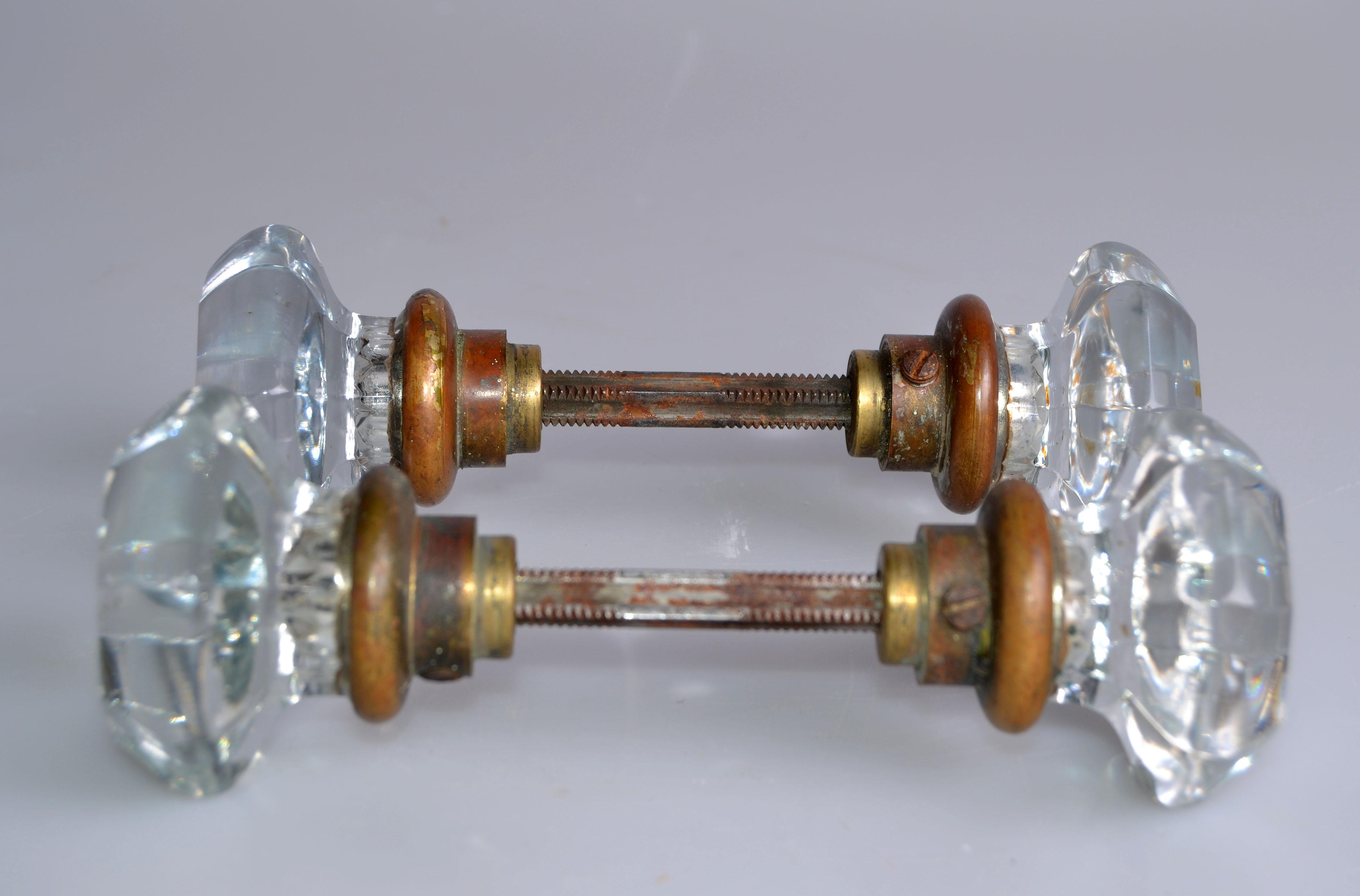 Art Deco Lucite U0026 Brass Door Knobs   A Pair   Image 4 ...