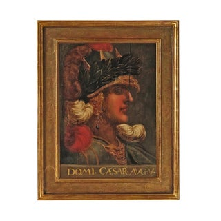 Grand Tour Italian Painting of Caesar on Panel