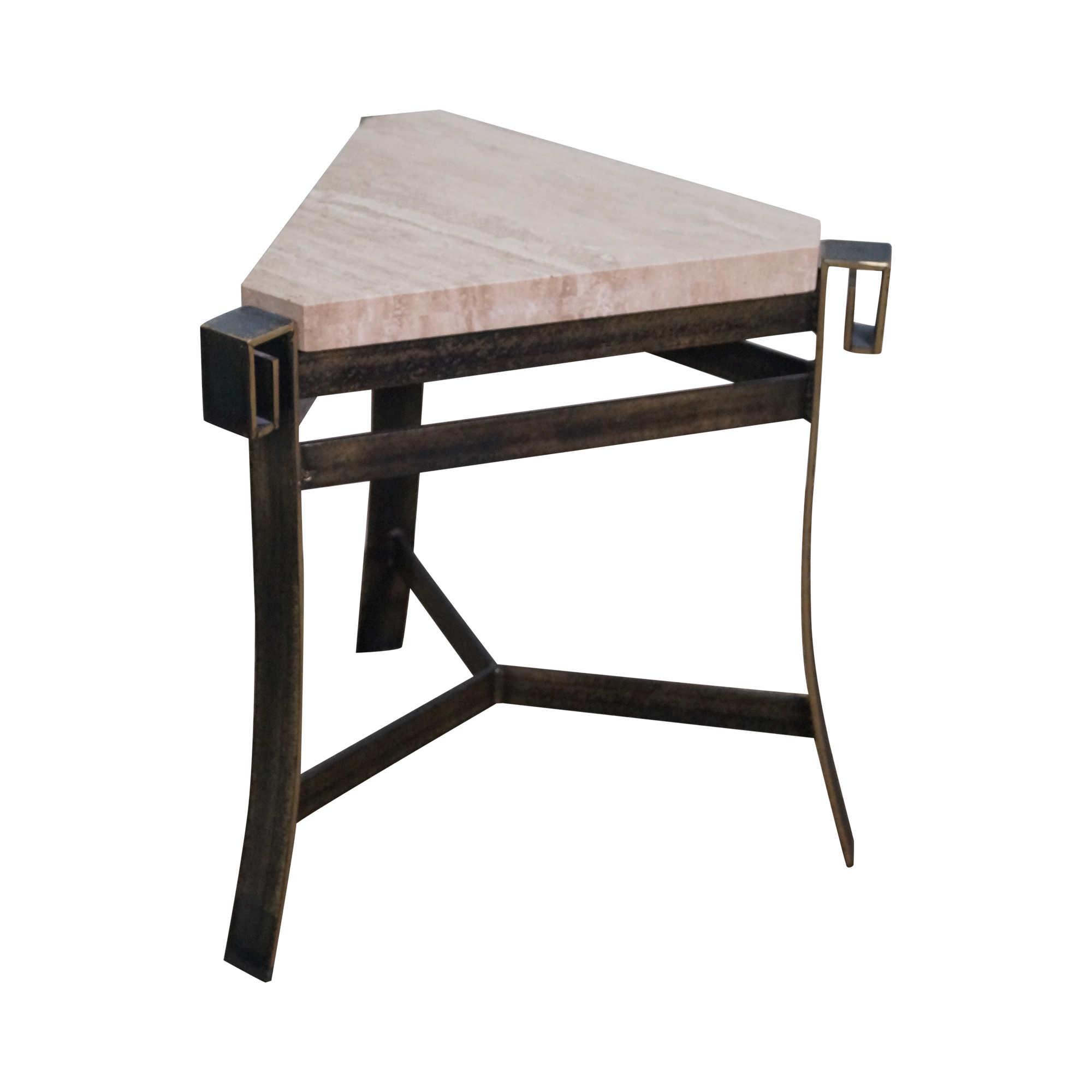 Travertine Top Triangle Iron Base Side Table