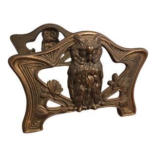 Vintage Brass Owl Adjustable Bookends