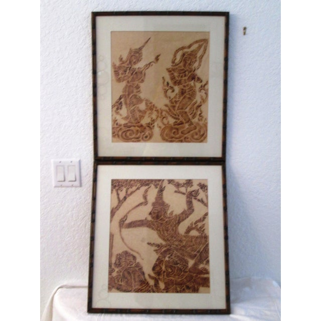Mid-Century Thai Temple Rice Paper Rubbings - A Pair - Image 2 of 9