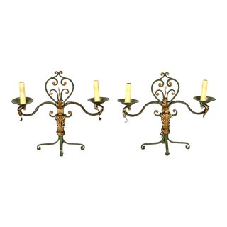 Pair French Gilt Metal Scroll Candelabra Table Lamps