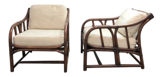 Ficks Reed Vintage 1960 s Rattan Chairs A Pair