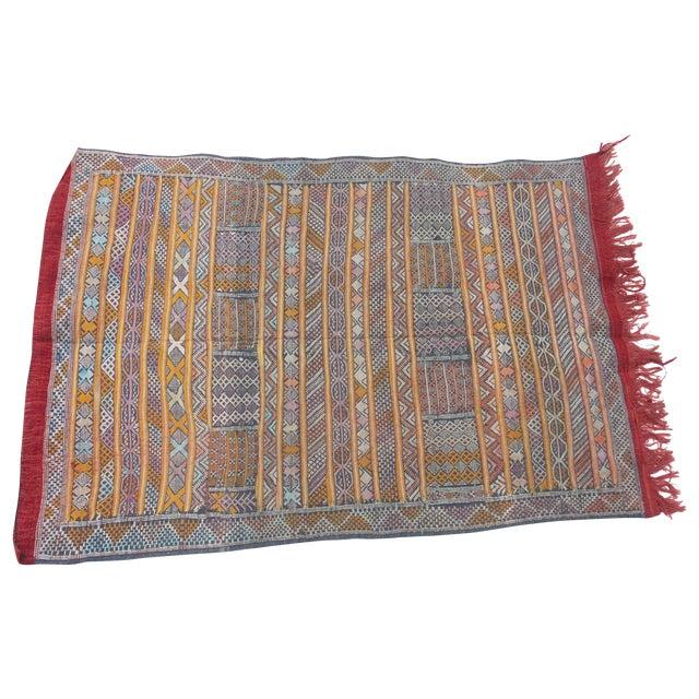 "Maroc Tribal Rug: Moroccan Berber Tribal Kilim Rug - 3' 2"" X 4' 8"""