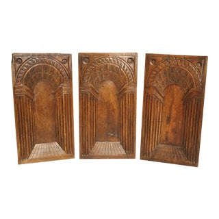 A Set of Three Perspective Panels from the Second French Renaissance, Walnut Wood, Circa 1580