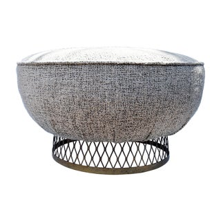 Metal Weave Low Stool Ottoman