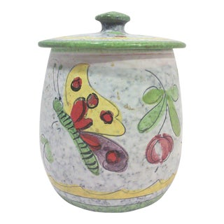 Mid-Century Ceramic Butterfly Canister Jar