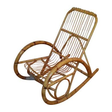 Franco Albini Style Rattan Rocking Chair - Image 1 of 5