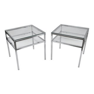 Vintage Mid-Century Modern Chrome & Glass 2-Tier Tables - A Pair