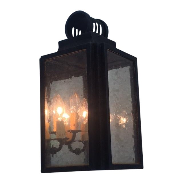 Iron and Glass Outdoor Lantern - Image 1 of 6