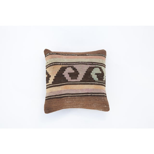 Vintage Turkish Brown Kilim Pillow - Image 2 of 3
