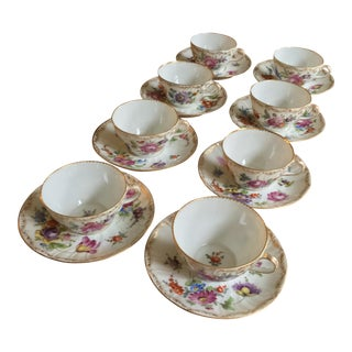 Antique Rk Dresden Germany Tea Cups - Set of 8