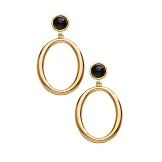 Trina Turk Gold Hoop Earring with Black Stone