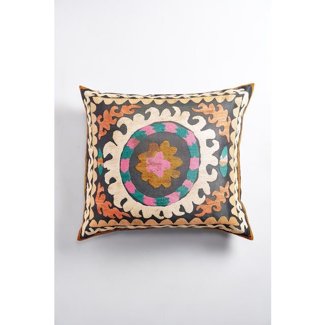 Large Suzani Pillow With Filler - Image 2 of 5