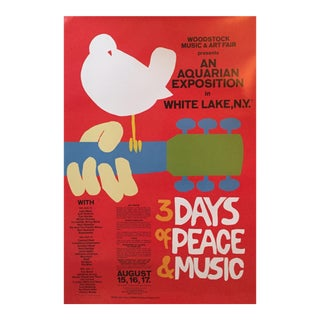 """""""3 Days of Peace and Music"""" Woodstock Concert Poster"""