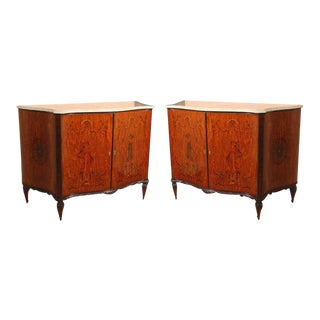 Edwardian Adams Style Marble-Top Cabinets - A Pair