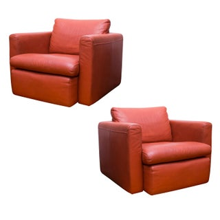 Poltrana Italian Leather Swivel Chairs