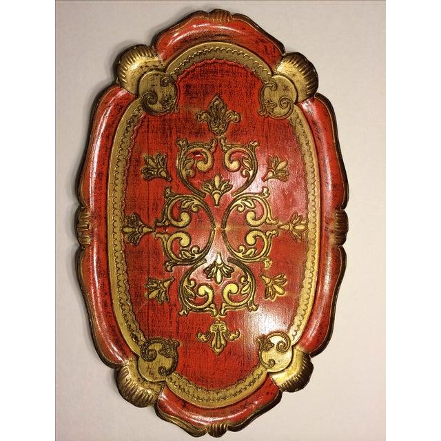 Vintage Florentine Craved Gold Leaf Orange Tray - Image 2 of 7