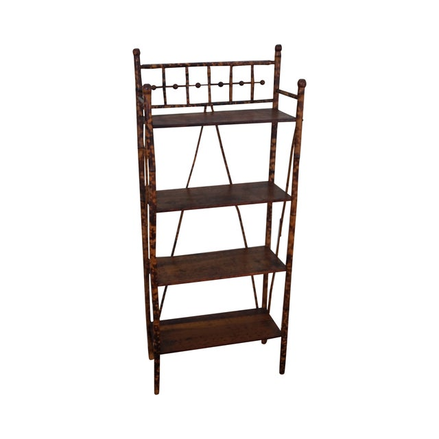 Image of Antique 19th Century Bamboo Frame Open Bookcase