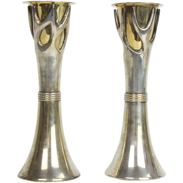 "2 Brass & Silverplate ""Tree of Life"" Candleholders - Image 1 of 4"